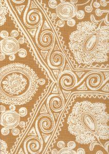 HC1910B-02 MELANIE BACKGROUND Caramel on Tint Quadrille Fabric