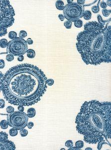 HC1900-02 MELANIE SCROLL Vapors on White Quadrille Fabric