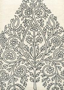 HC1480C-05 TAJ Black on Cream Linen Quadrille Fabric