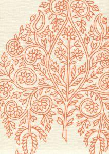 HC1480C-06 TAJ Melon on Cream Linen Quadrille Fabric