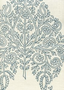HC1480C-03 TAJ Navy on Cream Linen Quadrille Fabric