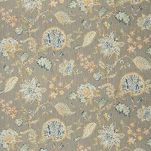 COLRAIN FLORAL Aqua Linen Fabricut Fabric
