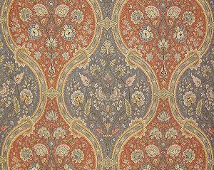 TI 00050422 VERBANA Terra Cotta Peacock Old World Weavers Fabric