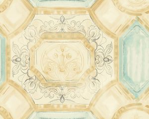 WMA MF040804 JULIUS Turquoise Gold Scalamandre Wallpaper
