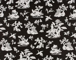 WR 00052953 LILY POND Coal Old World Weavers Fabric