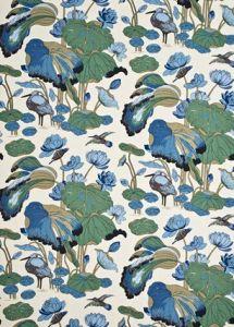 R1206-8 NYMPHEUS LINEN Aqua Teal GP & J Baker Fabric