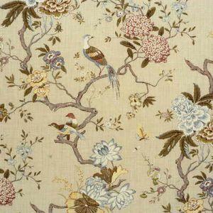 R1398-4 ORIENTAL BIRD Olive Stone GP & J Baker Fabric