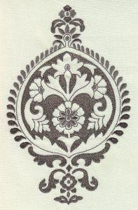 020080T-03E AKRA EMBROIDERY Grey Light Grey Quadrille Fabric