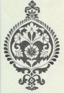 020080T-04E AKRA EMBROIDERY Grey White Quadrille Fabric