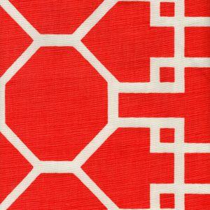 300426F BRIGHTON REVERSE Red on Tint Quadrille Fabric