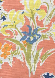 8310-05 FLOWERS II Coral Yellow Green Orange Custom Only Quadrille Fabric