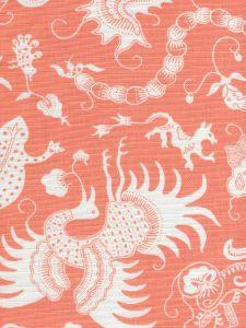 9010-01 INDRAMAYU REVERSE Melon on White Quadrille Fabric