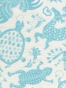 9005-03 INDRAMAYU Turquoise on White Quadrille Fabric