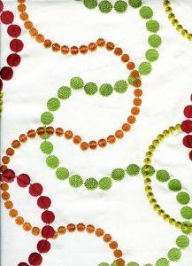 020140T-E MATRIX EMBROIDERY Magenta Green Orange Quadrille Fabric