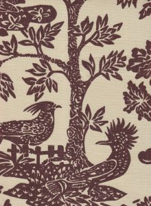 302450T-07 MAGIC GARDEN Brown on Tan Quadrille Fabric