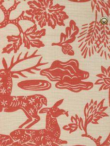 302450T-04 MAGIC GARDEN Burnt Orange on Tan Quadrille Fabric
