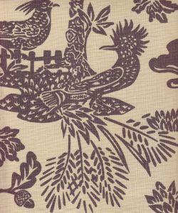 302450T-05 MAGIC GARDEN Gray on Tan Quadrille Fabric