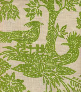 302450T-03 MAGIC GARDEN Green on Tan Quadrille Fabric