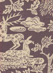 302455T-05 MAGIC GARDEN REVERSE Gray on Tan Quadrille Fabric