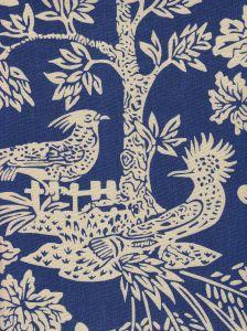 302455T-06 MAGIC GARDEN REVERSE Navy on Tan Quadrille Fabric
