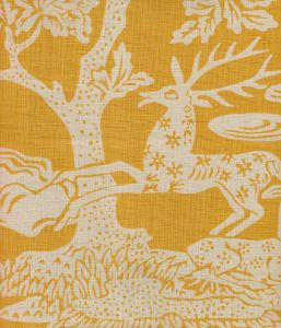 302455T-02 MAGIC GARDEN REVERSE Yellowe on Tan Quadrille Fabric