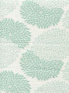 6290-04 NEW CHRYSANTHEMUM Aqua on White Quadrille Fabric