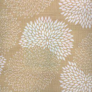 6295-02 NEW CHRYSANTHEMUM REVERSE Taupe on White Quadrille Fabric