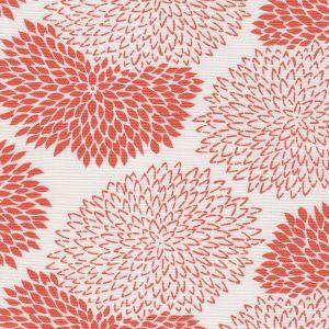 6290-13 NEW CHRYSANTHEMUM Coral on White Quadrille Fabric