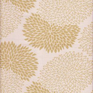 6290-02 NEW CHRYSANTHEMUM Taupe on White Quadrille Fabric
