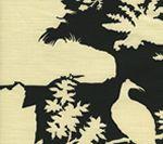 301980C-CU PARADISE BACKGROUND Black on Tint Quadrille Fabric