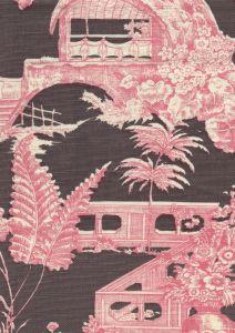 301963F PARADISE GARDEN Rose on Brown Quadrille Fabric