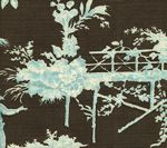 301965F PARADISE GARDEN Turquoise on Brown Quadrille Fabric