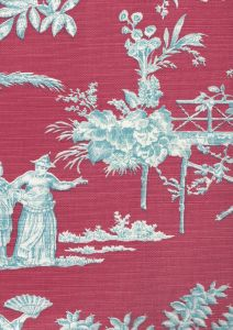 301964F PARADISE GARDEN Turquoise on Rose Quadrille Fabric