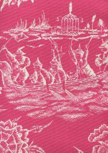 306353F ROYAL JOURNEY REVERSE II Magenta on Tint Quadrille Fabric