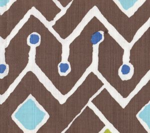 AC117-05W SAHARA MULTI COLOR Brown Blues Yellow Lime on White Quadrille Fabric