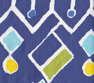 AC117-04W SAHARA MULTI COLOR Navy Blues Yellow Lime on White Quadrille Fabric