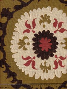 010222T SUZANI Beige Red Brown on Olive Quadrille Fabric