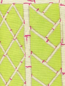 6020-09 LYFORD TRELLIS Lime Magenta Cream Quadrille Fabric