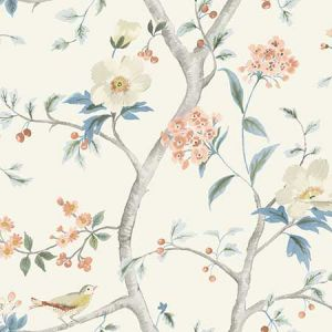 LN11101 Southport Floral Trail Eggshell, Melon, and Carolina Blue Seabrook Wallpaper