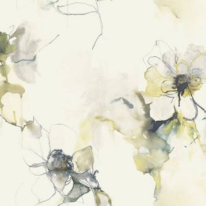 LW50007 Anemone Watercolor Floral Dark Ash and Canary Seabrook Wallpaper