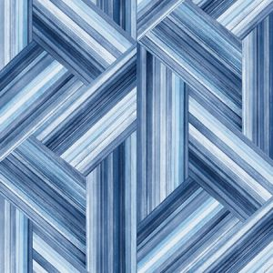 LW51902F Geo Inlay Fabric (LW50102 Coordinate) Denim and Sky Blue Seabrook Wallpaper