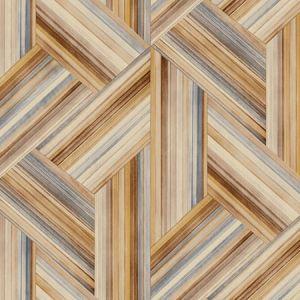 LW51906F Geo Inlay Fabric (LW50106 Coordinate) Saddle Brown and Steel Seabrook Wallpaper