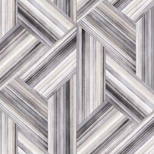 LW51908F Geo Inlay Fabric (LW50108 Coordinate) Cove Gray and Carrara Seabrook Wallpaper
