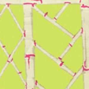 6020W-06 LYFORD TRELLIS Lime Magenta On Beige Quadrille Wallpaper