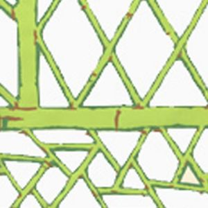 6020W-09 LYFORD TRELLIS Lime Forest Green Tobacco On Cream Quadrille Wallpaper