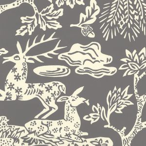302455W-05OWP MAGIC GARDEN REVERSE Gray On Off White Quadrille Wallpaper