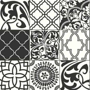 NW30300 Black and White Graphic Tile Seabrook Wallpaper