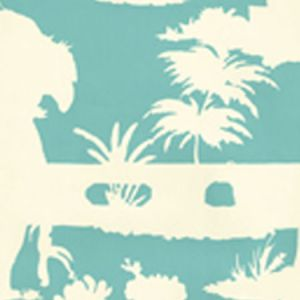 301980W PARADISE BACKGROUND Turquoise On Off White Quadrille Wallpaper