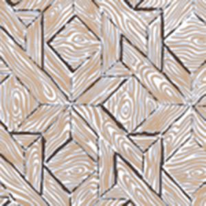 6280-02WP PARQUETRY Brown Taupe On White Quadrille Wallpaper