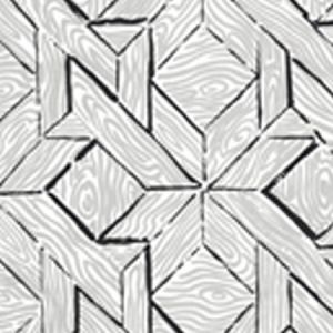 6280-05CWP PARQUETRY Gray Black On Almost White Quadrille Wallpaper